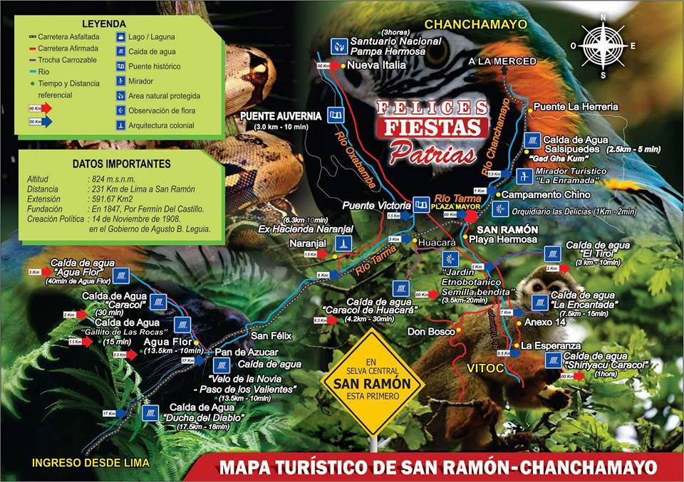 mapa turistico de San Ramon